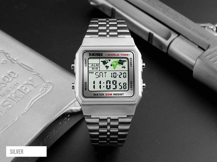 SKMEI 1338 Mens Watches World Time Square Date Display Stainless Steel Digital Watch Sports Chrono Waterproof Business Wristwatch Malaysia