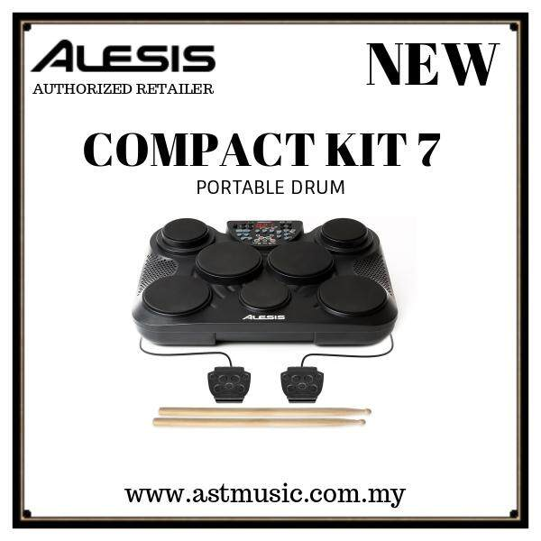 Alesis Compactkit 7 Portable 7-Pad Tabletop Electronic Drum Kit With Drumsticks & Footswitch Pedals By Ast Music.