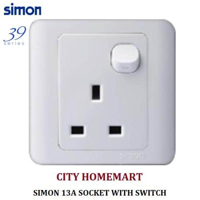 SIMON 31382B 39SERIES - 13A 1 GANG FLAT PIN SOCKET (WHITE)