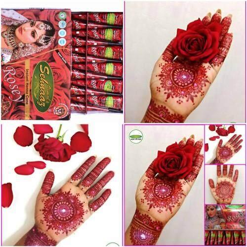 Vimals Sehnaaz Rosey Henna Cones By Golecha Henna , Inai Merah Red Rose Cantik 1 Kotak 12 Pcs By Golechahenna.