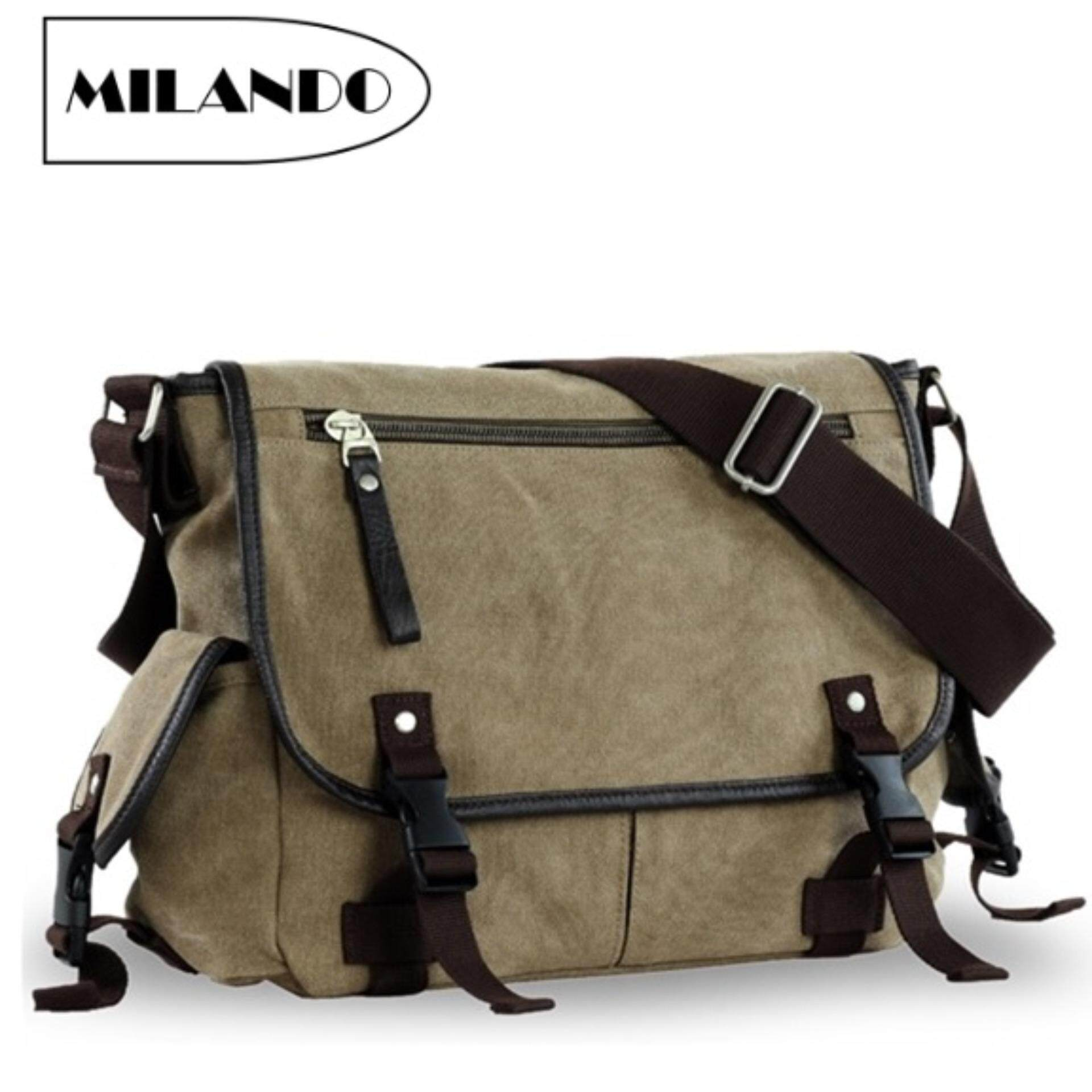 648f04ab622e MILANDO Men Vintage Canvas School Messenger Sling Bag Bags Beg Lelaki (Type  8)