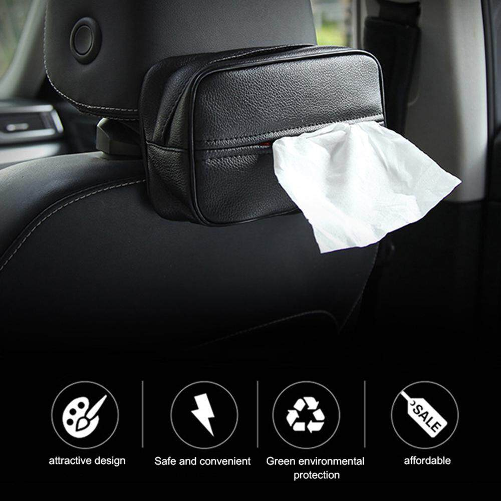Pawaca Tissue Box Holders Hanging Luxury Leather Car Back Seat Headrest Case Handy Paper