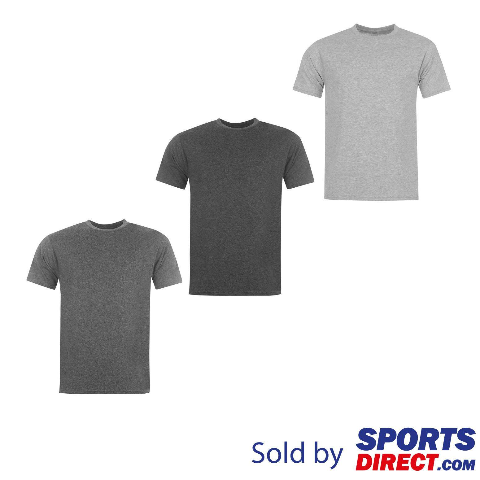 1492934b Donnay 3 Pack T Shirts Mens (Grey Marl/Charcoal Marl/Black)
