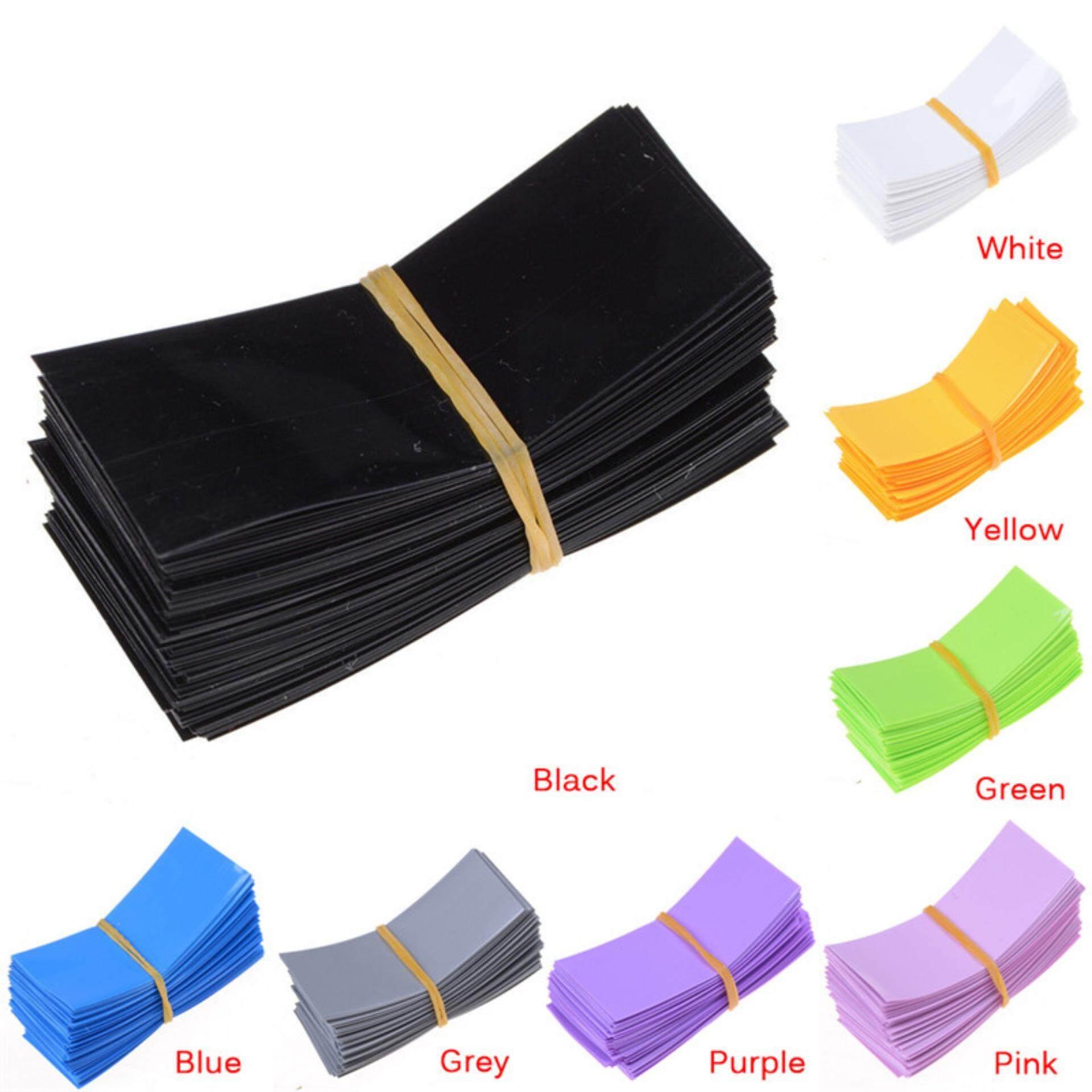Sky Wing 100Pcs 18650 Battery Wrap PVC Heat Shrink Tubing Precut Battery Film Tape Cover Convenient Multicolor
