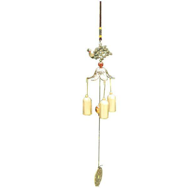 1 Copper Metal Home Decorations Peacock Open Screen Bells Wind Chime Ornaments Pendant Total Length Of About: 45cm By Shakeshake.