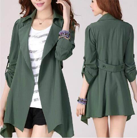 8a468c34b18 Fashion Womens Lapel Slim Long Parka Cardigan Jacket Trench Coat Loose Coat  Plus Size