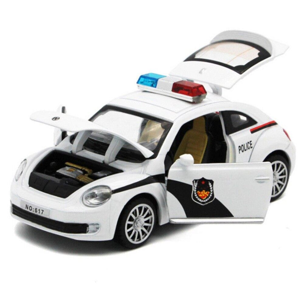 Kids Boys Police Car Truck Model Toys Pull Back With Sound&lights Open Door New By Glimmer.