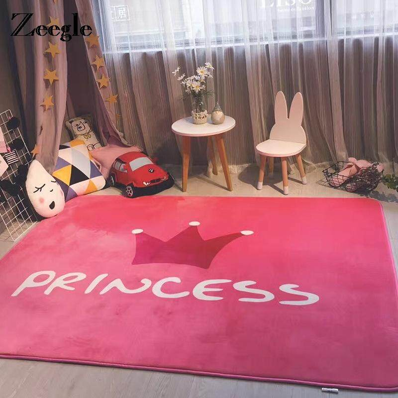 Shaggy Anti-skid Carpets Rugs Floor Mat/Cover 80x120cm (Grey . Source · Flannel Area Rug For Living Room Pink Princess Pattern Kids Bedroom Carpets Anti .
