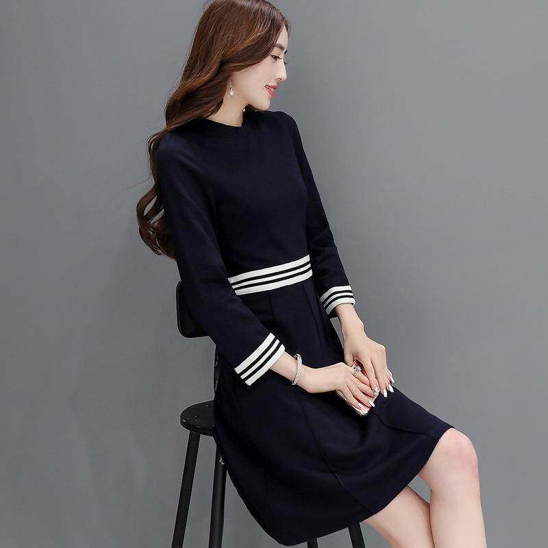 ce499dcf46c8f Autumn new Korean ladies fashion casual Slim round neck waist long sleeve  black dress
