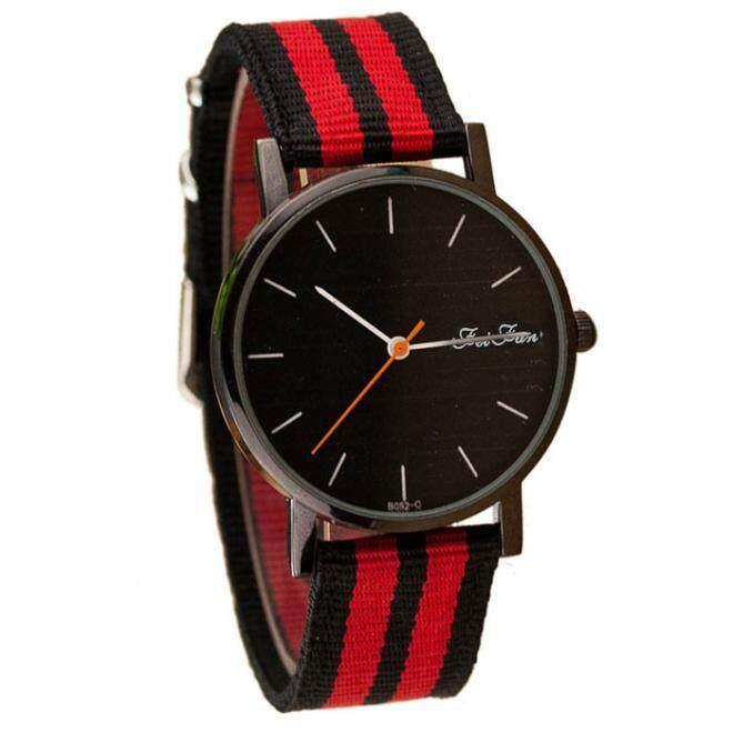 BPFAIR Fashional Unisex Casual Pointer Dial Striped Canvas Band Quartz Wrist Watch Malaysia