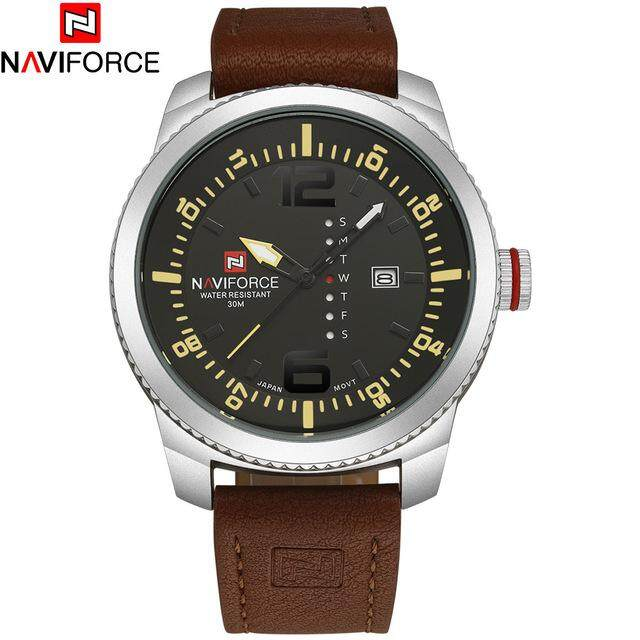 NAVIFORCE 9063 Business Watch For Men Leather Strap Luxury Fashion Military Quartz Analog Multifunction Watch Waterproof With Date Casual watch Malaysia