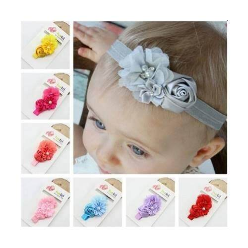 753ccc50200a 8 Colors Cute Infant Baby Girls Sweet Rose Flowers   Pearl Decor Elastic Headband  Hair Band