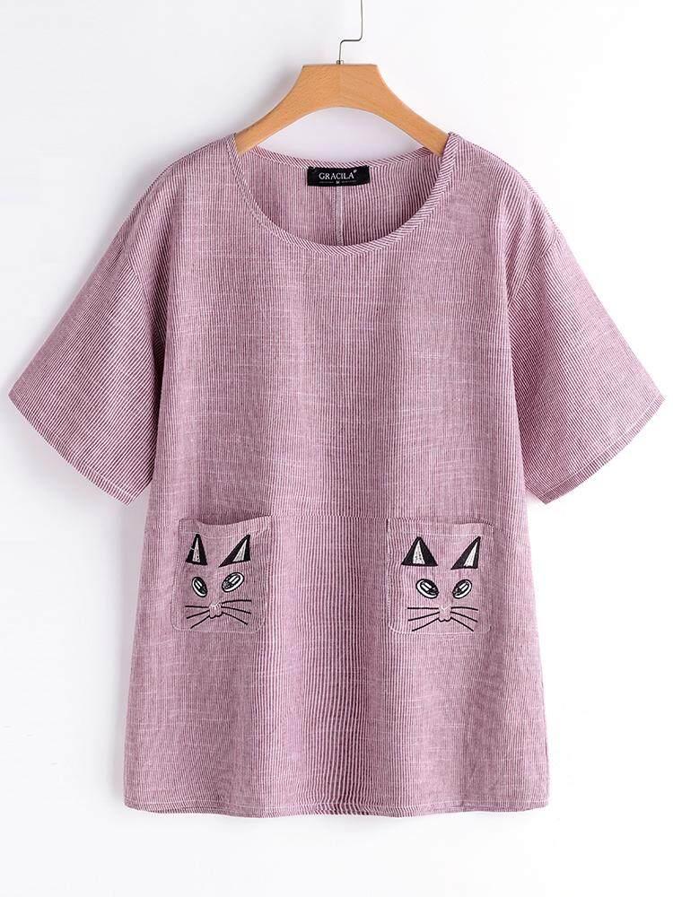 4ec8a9acae2b Gracila Women Cat Embroidery Stripe Short Sleeve Casual Blouses