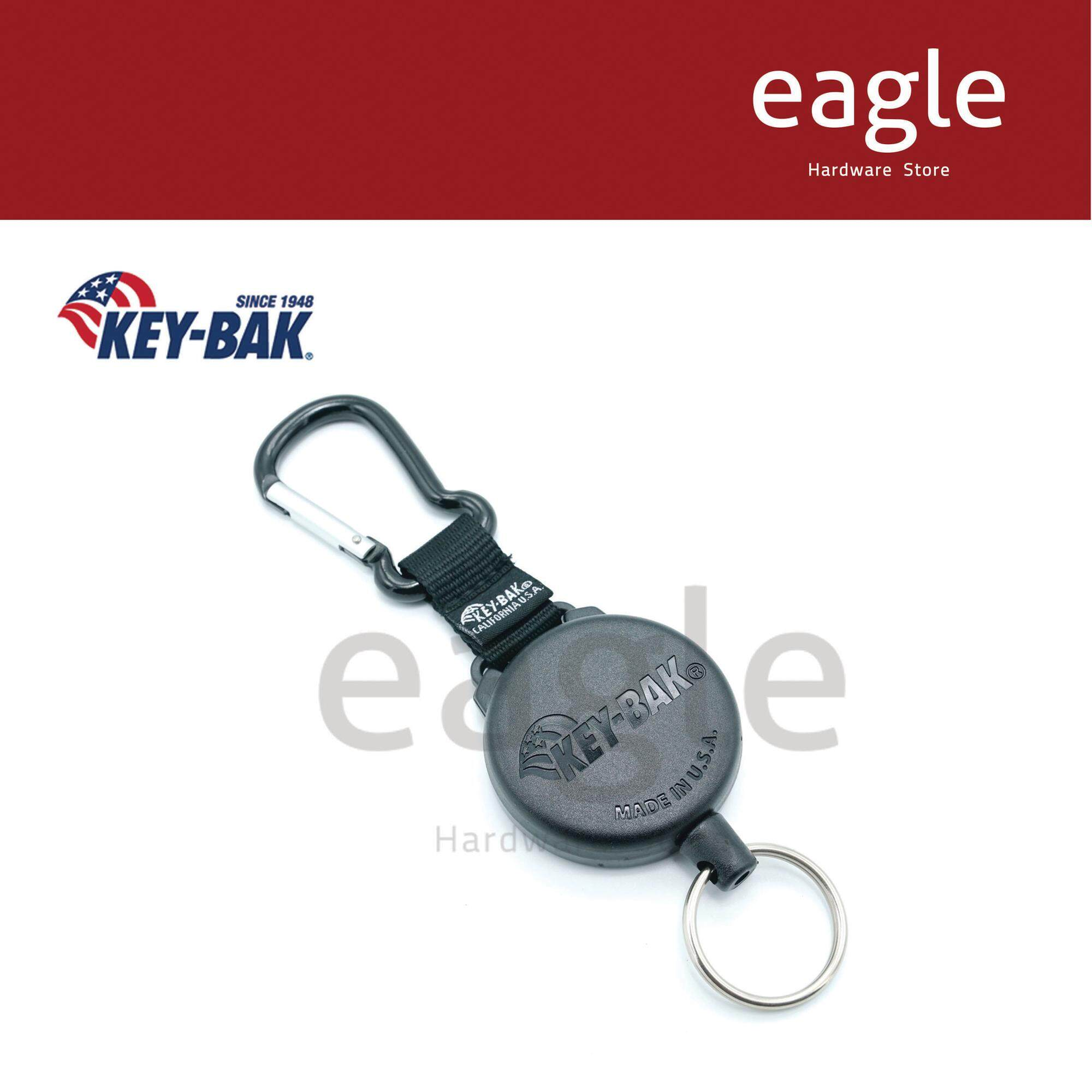 8 oz Split Ring 2.25 Leather Belt Loop Retraction Chrome Front KEY-BAK DUTY-GEAR Retractable Key Holder with 24 Stainless Steel Chain