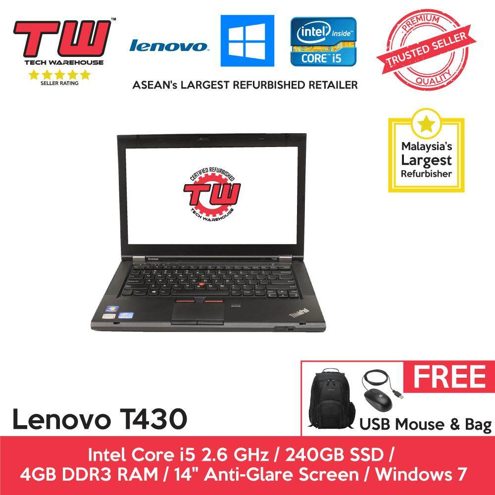 Lenovo T430 Core i5 2.6 GHz / 4GB RAM / 240GB SSD / Windows 7 Laptop / 3 Months Warranty (Factory Refurbished) Malaysia