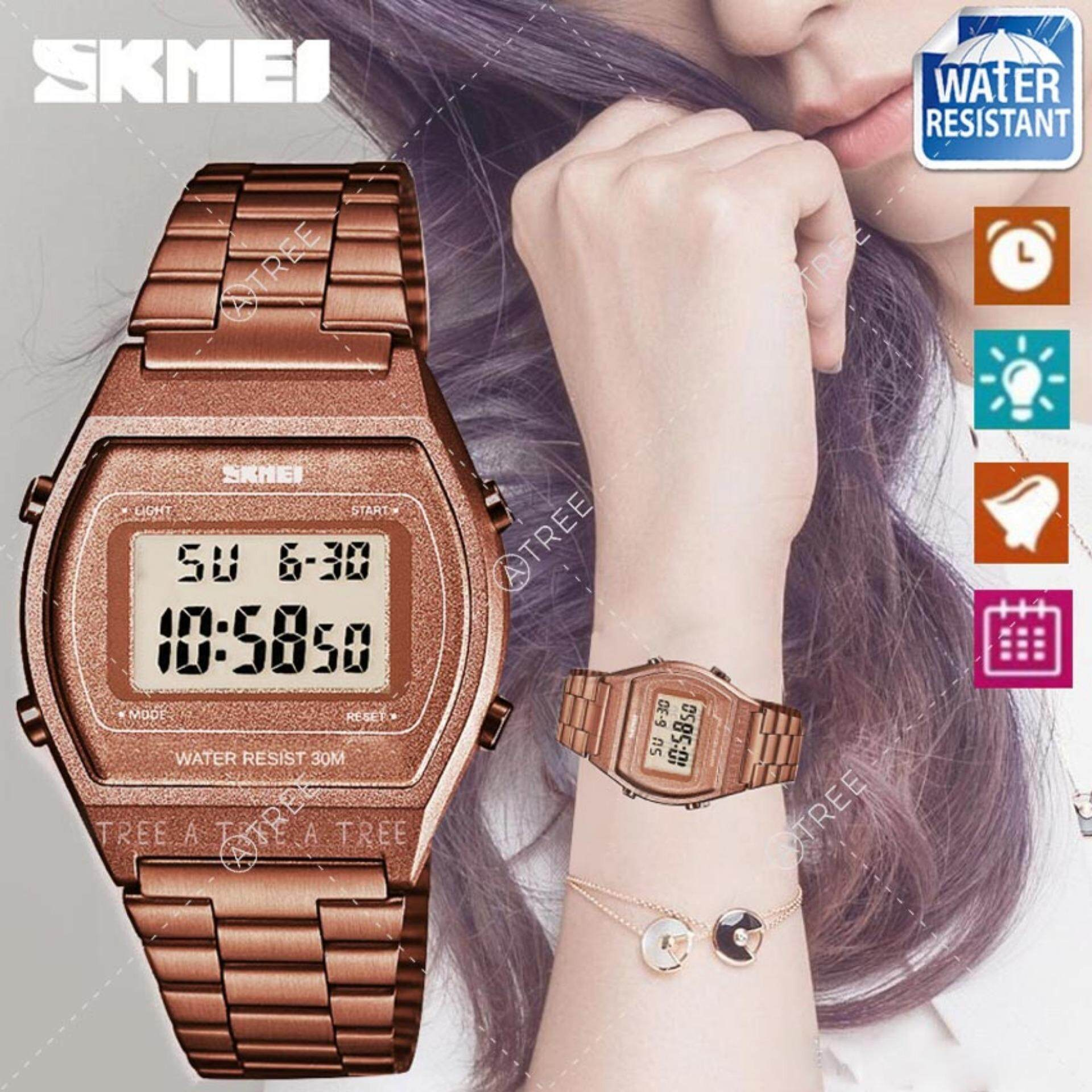 SKMEI Women Fashion Watches Digital Waterproof Watch LED Stainless Steel Time Alarm Light Wristwatch 1328 Malaysia