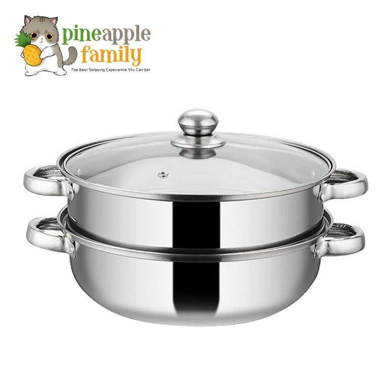 Luxury Soup Steam Pot 28cm 2 Layers Thick Stainless Steel By Pineapple Family.