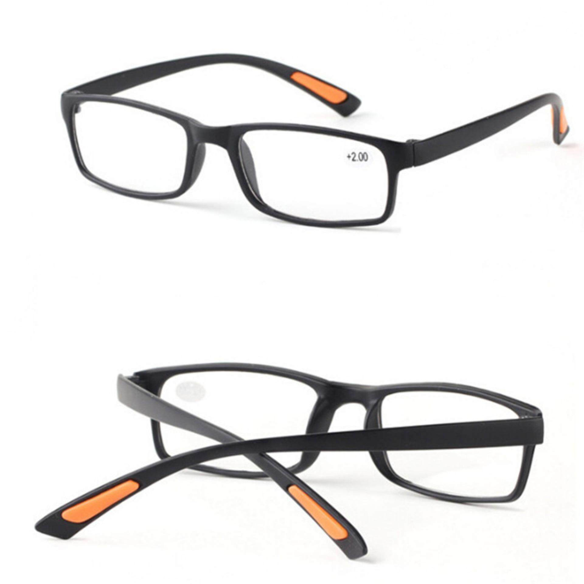 Retro Square Frame No Line Bifocal Progressive Clear Lens Reading Glasses Unisex Black 350:140mm By Beauty Wisdom.