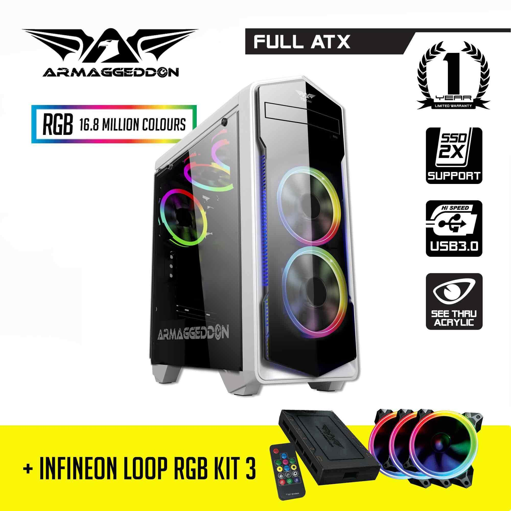 BUNDLE: Armaggeddon T5X Pro Full ATX Gaming Case and Infineon Loop RGB Kit 3 RGB Malaysia