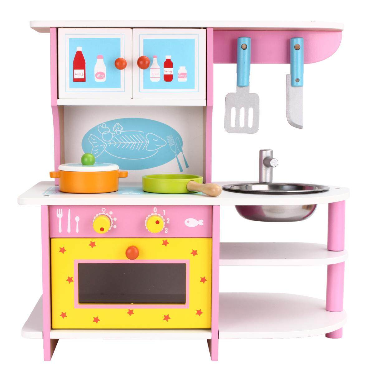 Large Girls Kids Pink Wooden Play Kitchen Role Play Pretend Set Toy Children By Ferry.