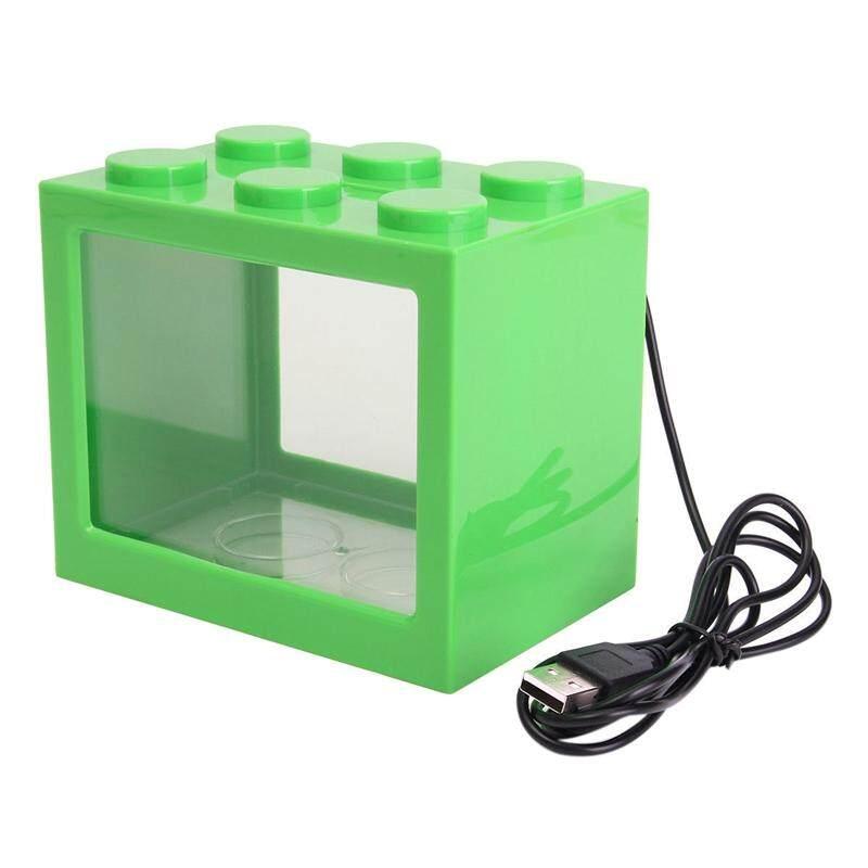 Mini USB LED Lighting Clear Fish Tank Ornament Aquarium Office Desktop Decor, Green
