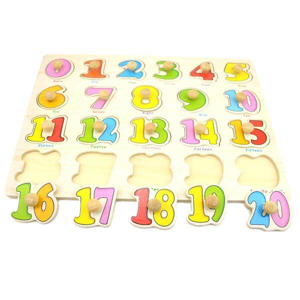 [Choo Choo Toy] 1 pc Preschool Educational Wood Puzzle - Alphabet & Mathematics -BKM38-B