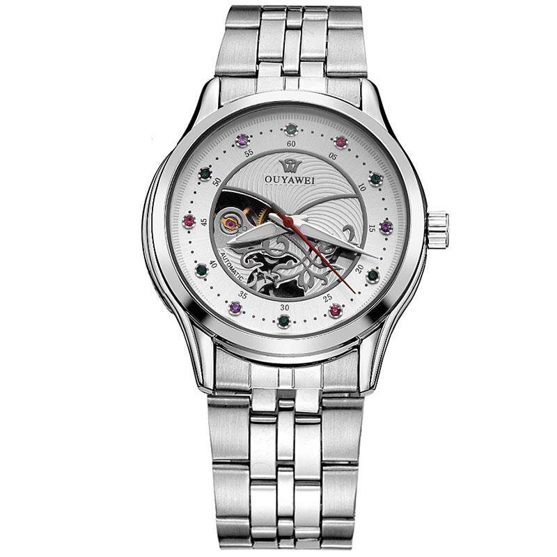 OUYAWEI Brand Women Mechanical Automatic Watch Ladies Dress Steel Watches Fashion Skeleton Clock Relogio Feminino Malaysia