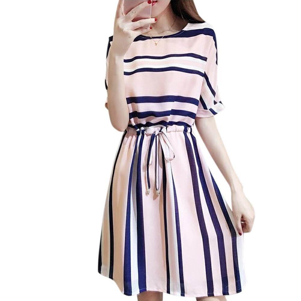 Women's Clothing Tops Womens Fashion Spring Women Sexy Stripe Button Backless Dress Evening Party Dress With Belt