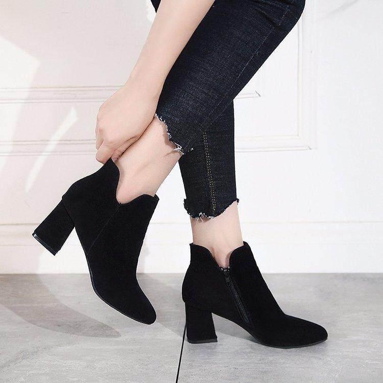 1e31a894d19 2018 Autumn   Winter New Style Suede Versatile Korean Style Block Heel  Martin Boots Side Zipper