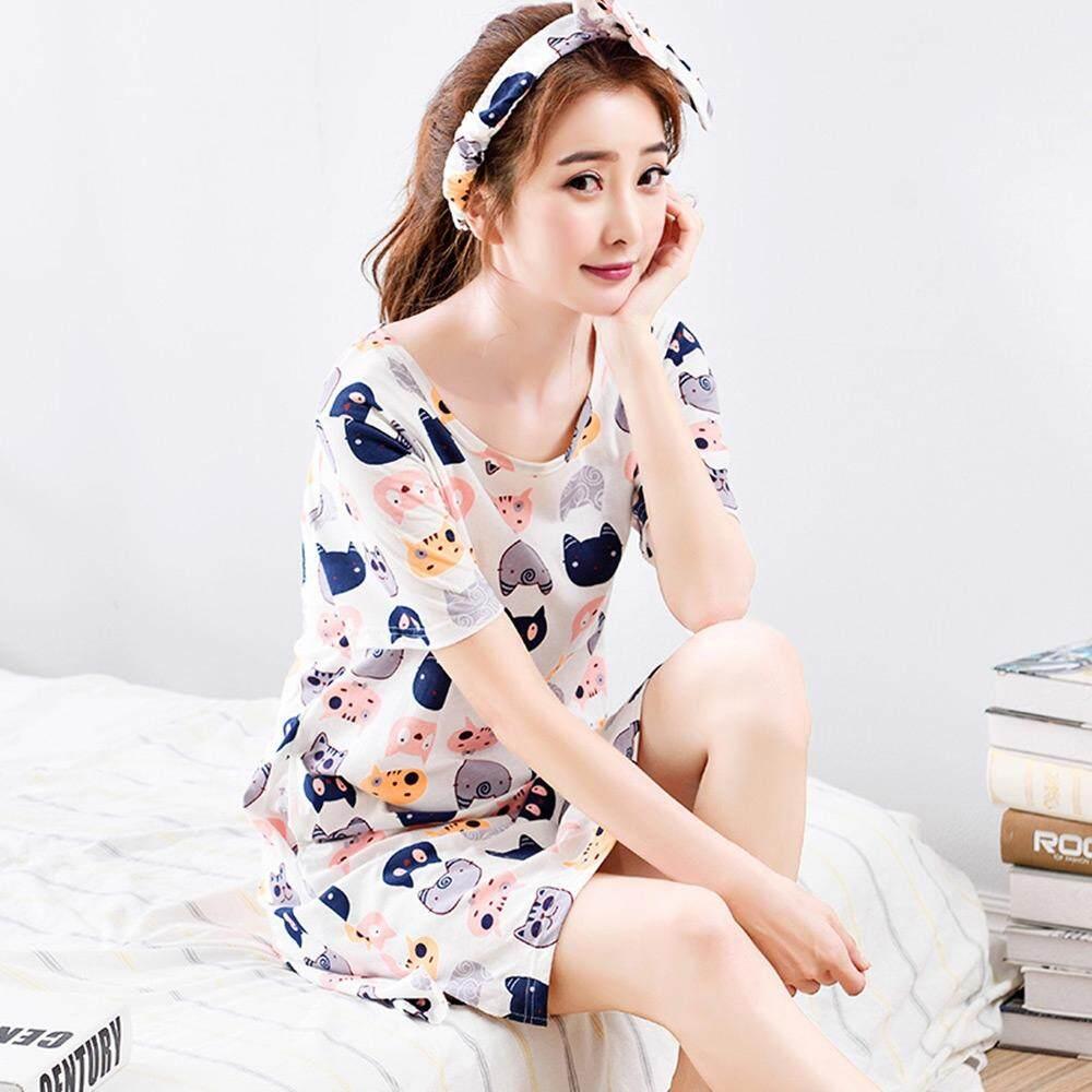 eabc6df6e8 Summer Short Sleeve Dress Cartoon Homedress Round Collar Cat Print Cotton  Women Nightgown with Headband