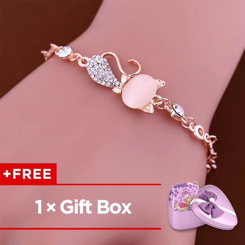 7a08bbf55 ... good free giftbodhi women lovely cat pendant pandora rhinestone bangle  bracelet chain jewelry 386d8 75e05