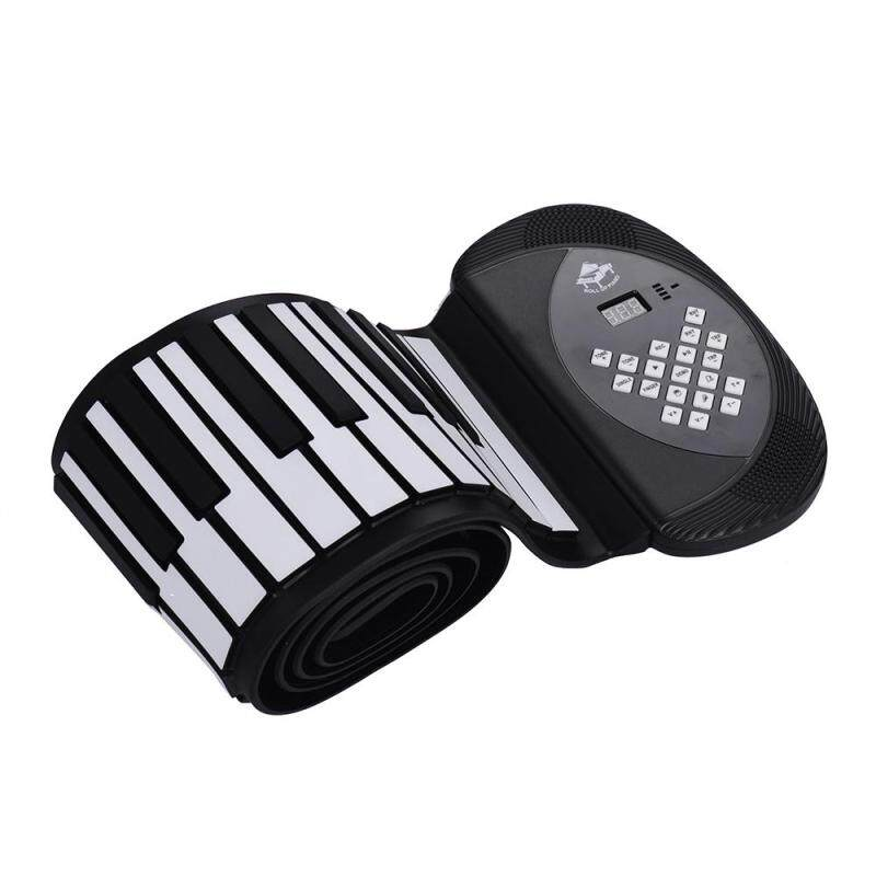 88 Keys MIDI Roll Up Piano Electronic Silicon Keyboard Stereo Speaker 1200mA Li-ion Batery Support BT Connection Record Sustain functions US plug BLACK Malaysia