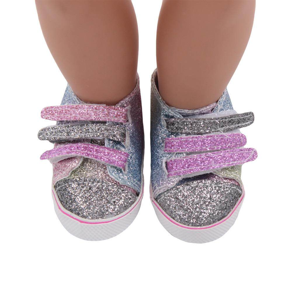 【free Shipping】glitter Doll Shoes Canvas Shoes For 18 Inch Our Generation American Girl Doll Aitao By Aitaostore.