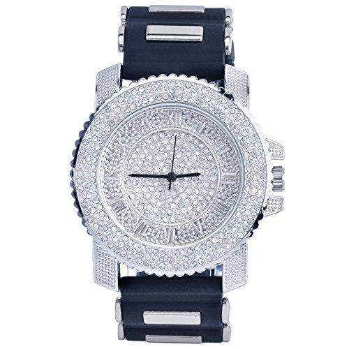 Men Techno Pave Hip Hop Iced Out Bling Diamond Rappers Silver Silicone Watch 7840 GD Malaysia