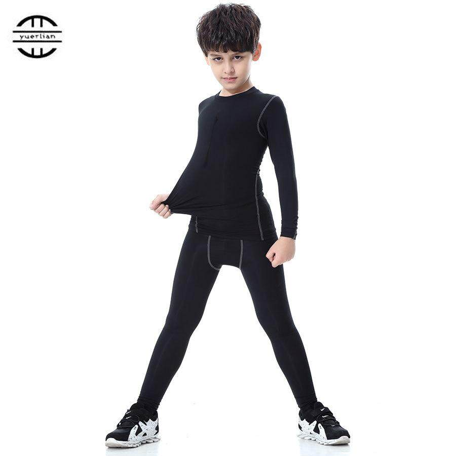 New Children Compression Wicking Sport Suit Fitness Tight Tracksuit Long T-Shirt Leggings Pant Gym Kids Running Set By Tristaxu.