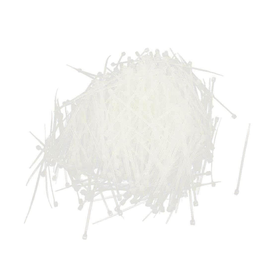 1000pcs 3.2inch inch Length White Cord Wire Strap Nylon Cable Tie