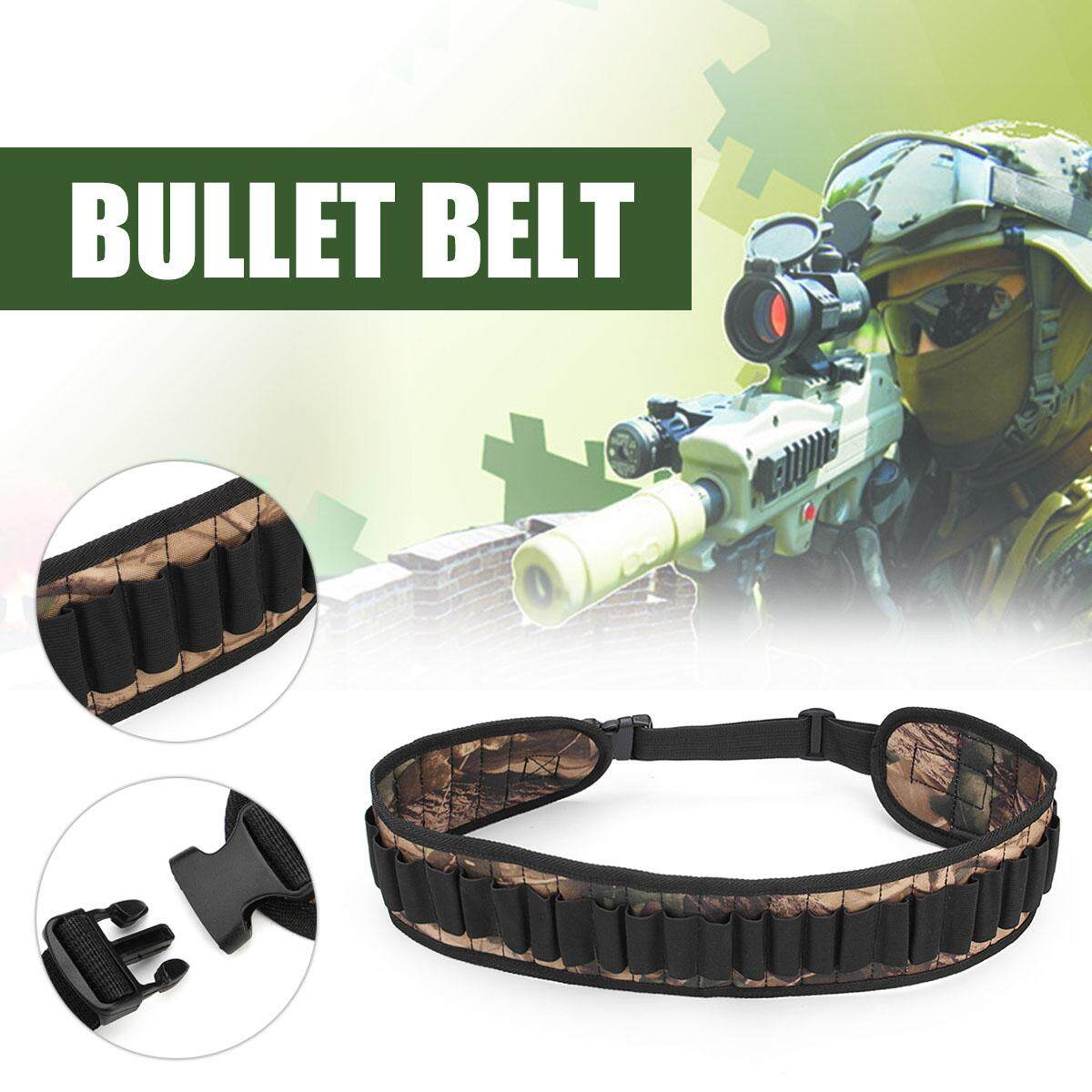 Hunting Cartridge Belt Nylon Camouflage 30 Shells Buckle Adjustable New By Freebang.