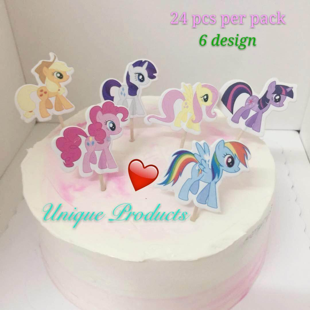 Little Pony Cartoon Character Theme Cake Topper Happy Birthday Cupcake