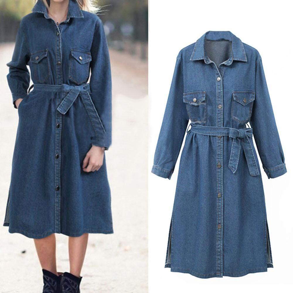 IDASIC Women Casual Long Sleeve Denim Jacket Long Jean Coat Outwear Overcoat