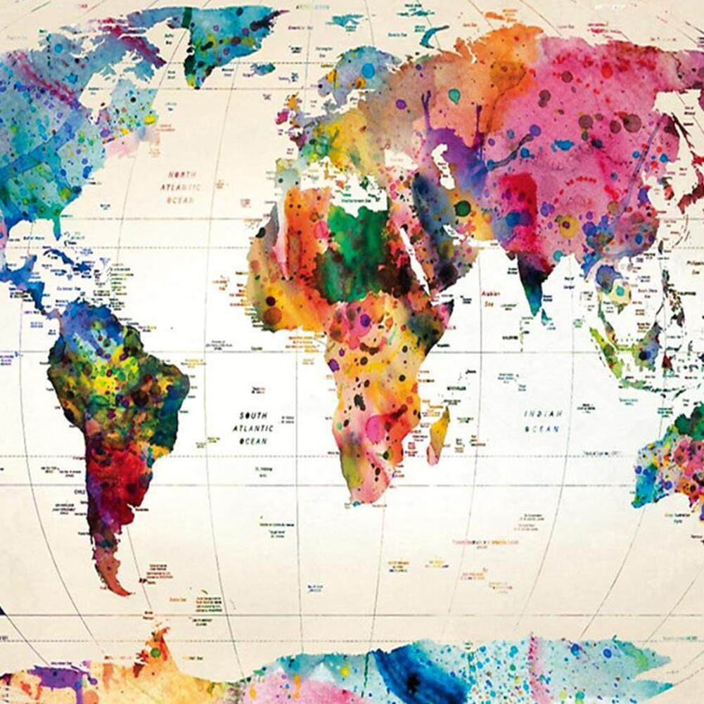 PS Vintage Style World Map Wall Tapestries Bedspread Table Cloth Curtain  Home Decor