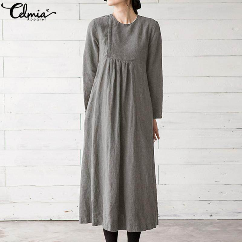 18f3bd45e4d Celmia Women Winter Dress Long Sleeve Button Up Loose Cotton Maxi Dress  Tunic