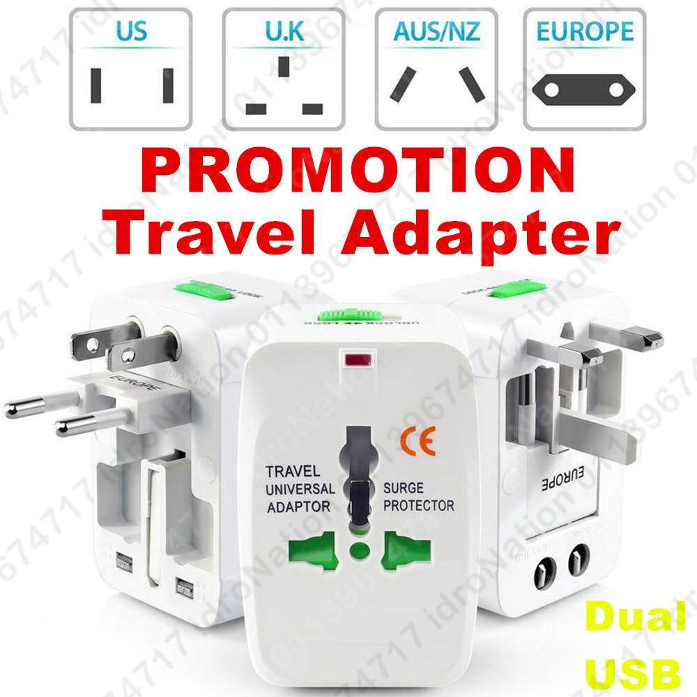 Au Uk Us Eu International Universal Travel Adapter Charger Dual Usb Plug