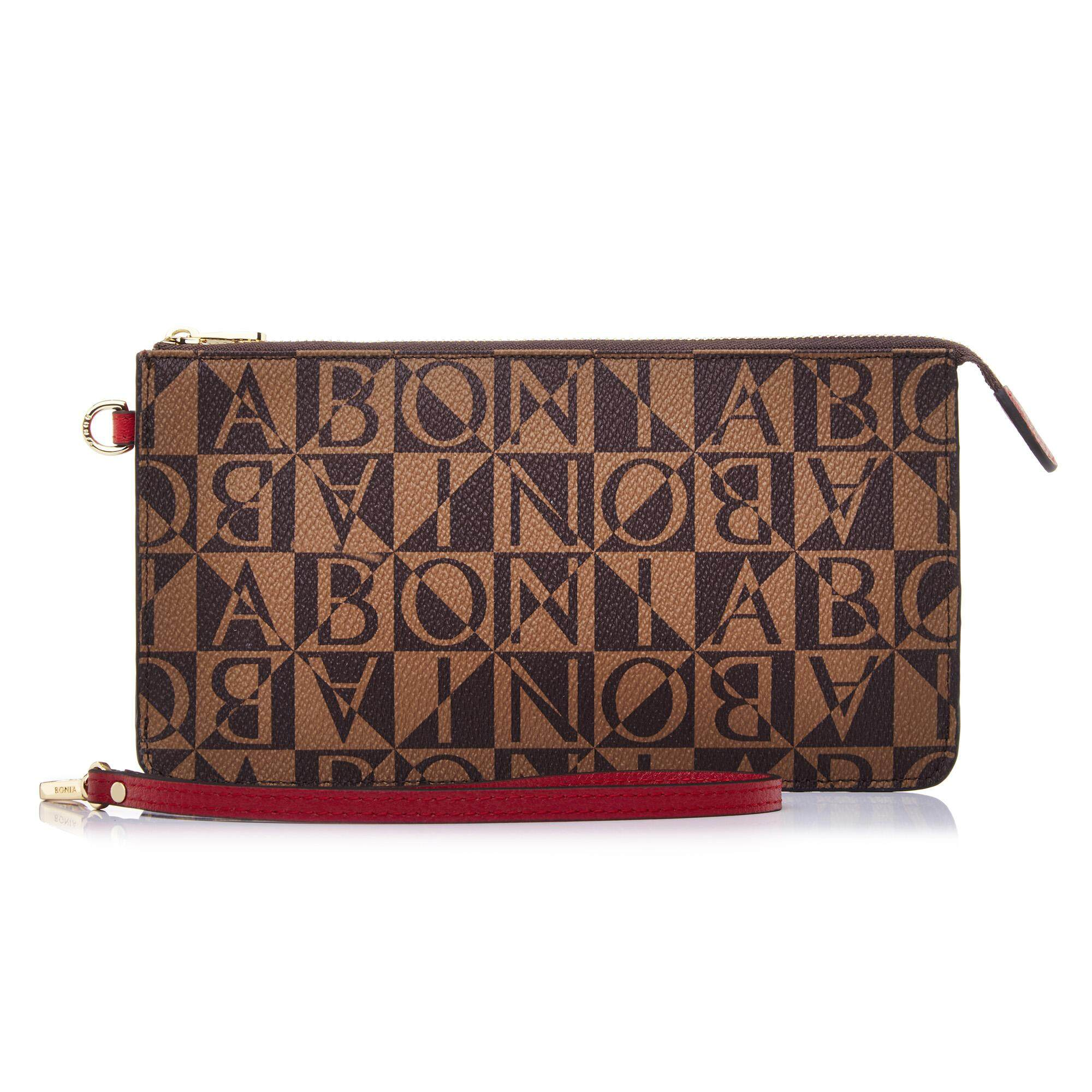Bonia Red Monogram Pouch M