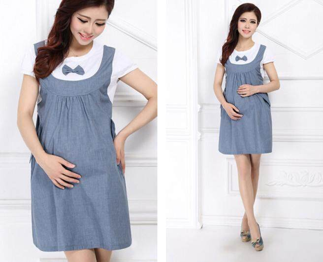 f556a44a3fc Fergusonshop-Maternity Dress Bow Clothes For Pregnant Women Pregnancy Denim  Clothing BU L