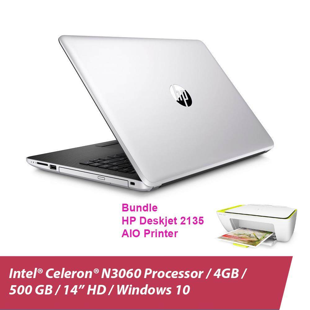 HP 14-bs538TU Laptop (Celeron N3060, 4GBD3, 500GB, 14.0, Win10) - Natural Silver + HP 2135 Deskjet Printer + Free Backpack Malaysia