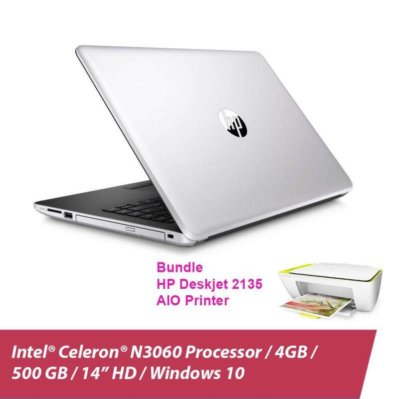 HP 14-bs538TU Laptop (Celeron N3060, 4GBD3, 500GB, 14.0, Win10) - Natural Silver + HP 2135 Deskjet Printer + Free Backpack Malaysia