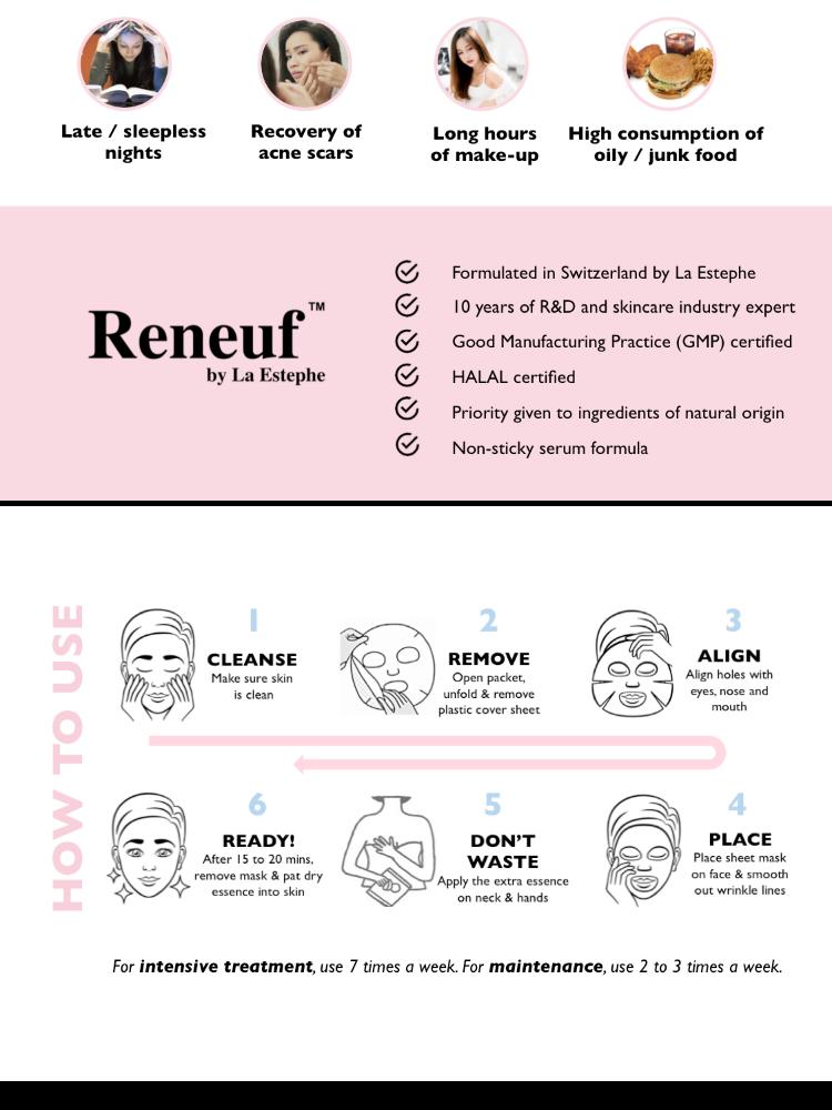 [Reneuf Halal Beauty Mask] Vitamin E - Brightening & Moisturizing Mask (5  pcs/box)