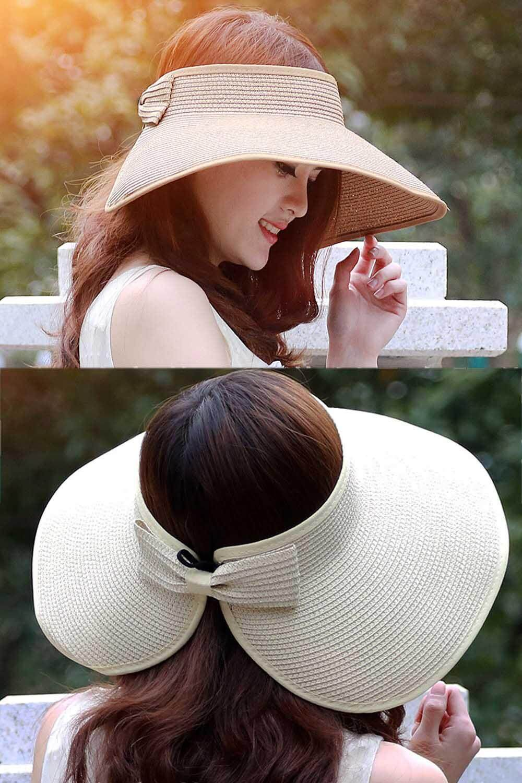 Women Ladies Girls Outdoor Traveling Folding Summer Large Brimmed Beach Sun Straw Hat Visor Hat Cap Beige By Elek.
