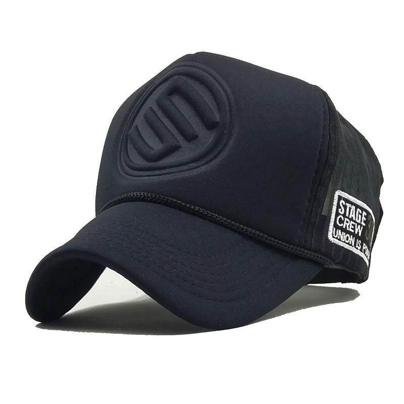 c24f5dd3 Stereo Print Mens Hat Black Mesh Baseball Caps Curved Snapback Hip-Hop Hats