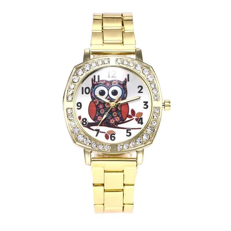 BODHI Owl Rhinestone Metal Band Square Case Women Quartz Wrist Watch Jewelry Gift (Golden) Malaysia